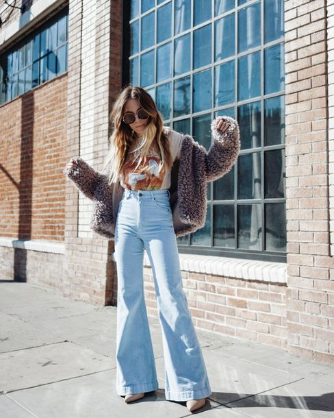 jeans flare jeans high waisted jeans pumps high heel pumps printed t-shirt teddy bear coat sunglasses round sunglasses