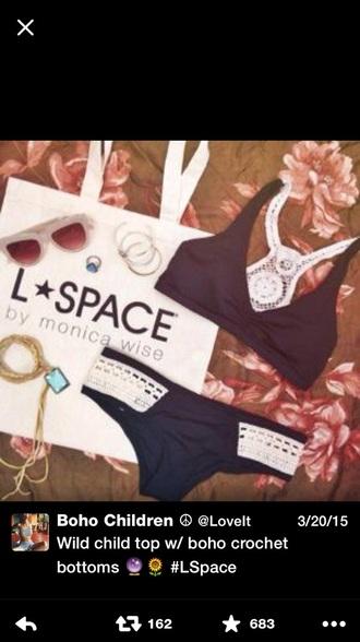 swimwear monica wise crochet top black swimwear l space swimwear l space white crochet
