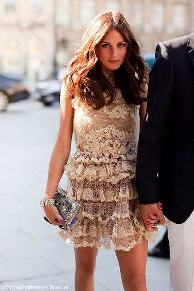 dress lace olivia palermo sleeveless flirty vintage short dress preppy fun cute ruffles embroidery cream beige sheer