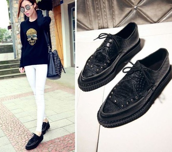 leather creepers studs rivets snake print oxfords lace up