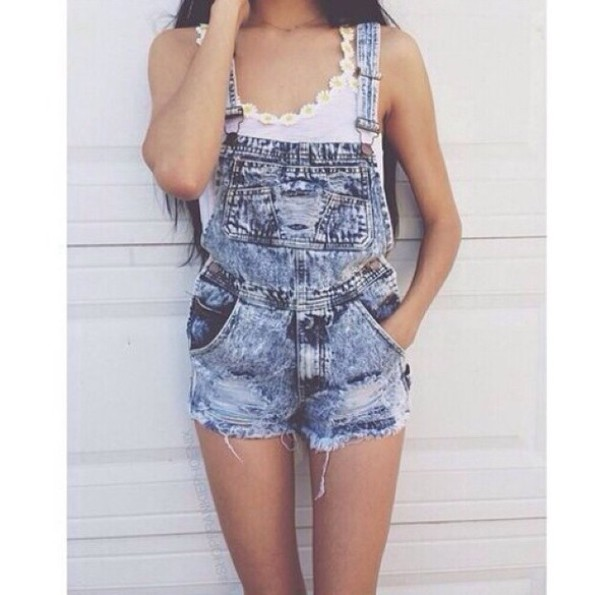 jumpsuit overalls denim overalls denim short overalls dungarees bleach wash jeans ripped daisy white top romper