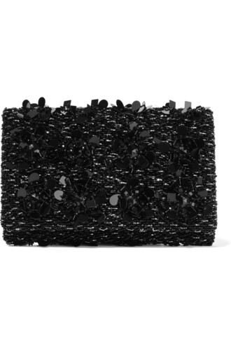embellished clutch suede satin black bag