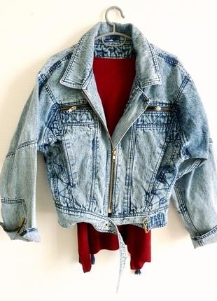 6b578472153f Veste en jeans boyfriend acid bleached vintage style perfecto 90 s TM ...