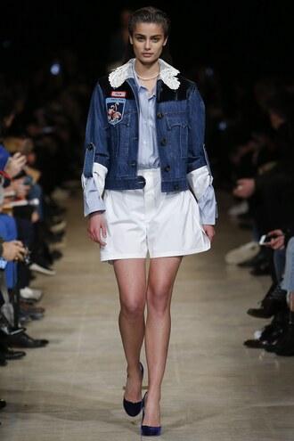 jacket miu miu fashion week 2016 shorts runway model paris fashion week 2016