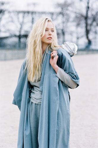 vanessa jackman blogger mini bag silver bag blue coat blonde hair