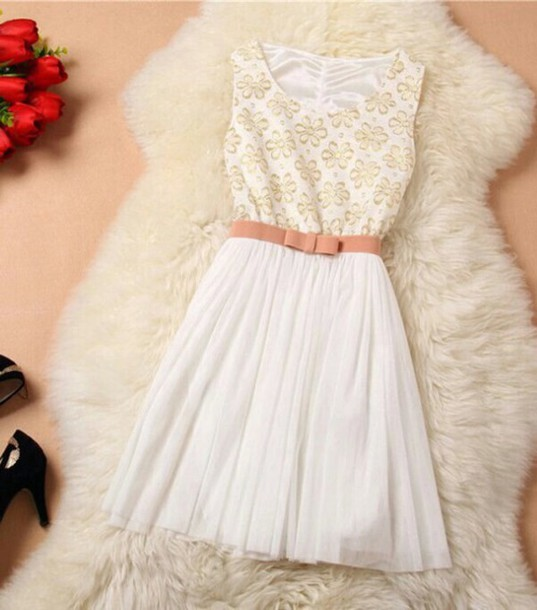 dress white dress brown belt
