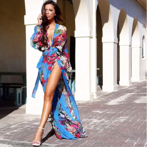 7d794f4d5d dress cover up slit dress long dress maxi dress blue maxi dress floral  printing dress