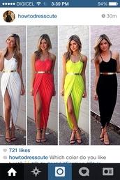 dress,maxi dress,chartreuse,red,white,black,summer dress,thigh high slit maxi dress,belt