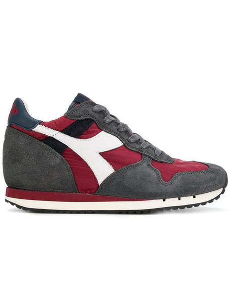 Diadora women sneakers leather cotton suede red shoes