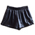 ROMWE | Elastic Waist Faux Leather Black Shorts, The Latest Street Fashion