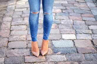 shoes high heels beige shoes jeans