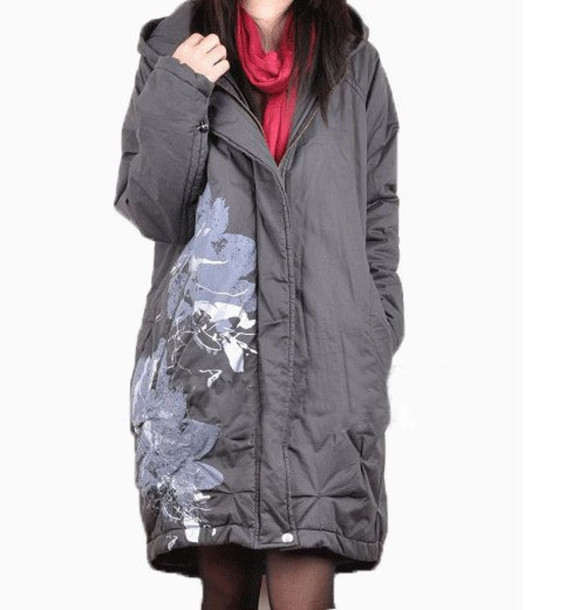 jacket women  jacket padded jacket charcoal