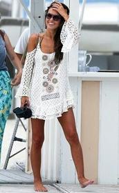 dress,crochet dress,boho,cold shoulder dress,cover up,boho chic,boho dress,hippie,lace dress,streetstyle,white dress,floral dress,summer dress,blouse