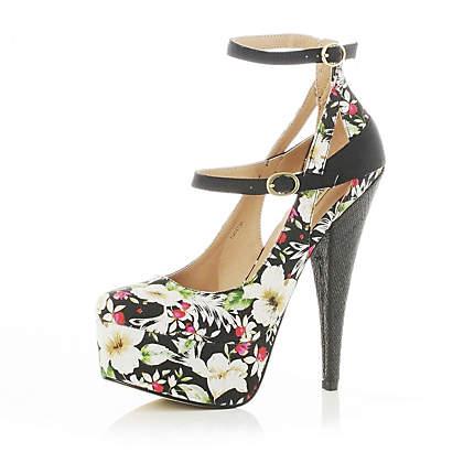 black floral print platform court shoes - heels - shoes / boots - women - River Island
