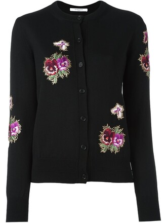 cardigan embroidered women floral black wool sweater