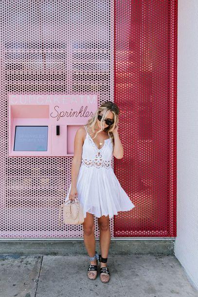 dress tumblr mini dress white dress slip dress flats ballet flats bag pink bag sunglasses shoes