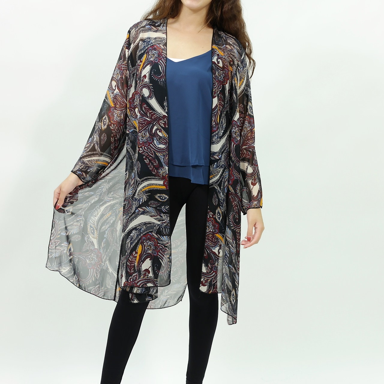 Feather inspired chiffon long kimono cardigan Black