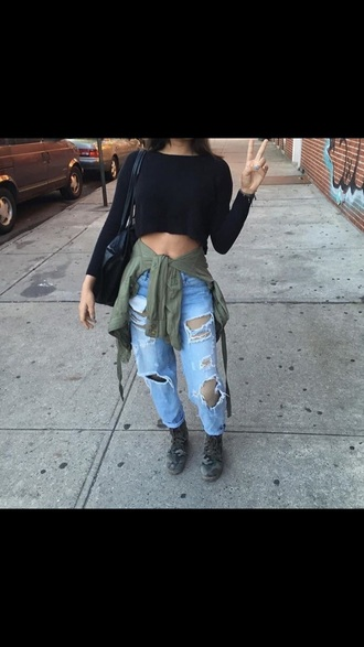 jeans tumblr outfit crop tops black long sleeves cute outfits outfit outfit idea