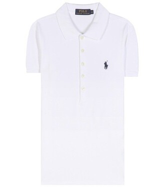 shirt polo shirt embroidered cotton white top