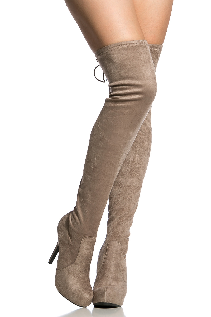 a8bca58ed77 Taupe Faux Suede Thigh High Boots   Cicihot Boots Catalog women s winter  boots