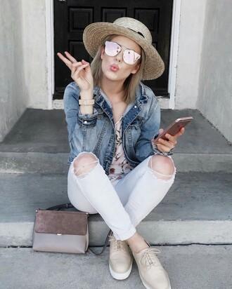 hat tumblr straw hat sun hat denim jeans white jeans ripped jeans white ripped jeans jacket denim jacket blue jacket shoes nude shoes nude bag sunglasses mirrored sunglasses