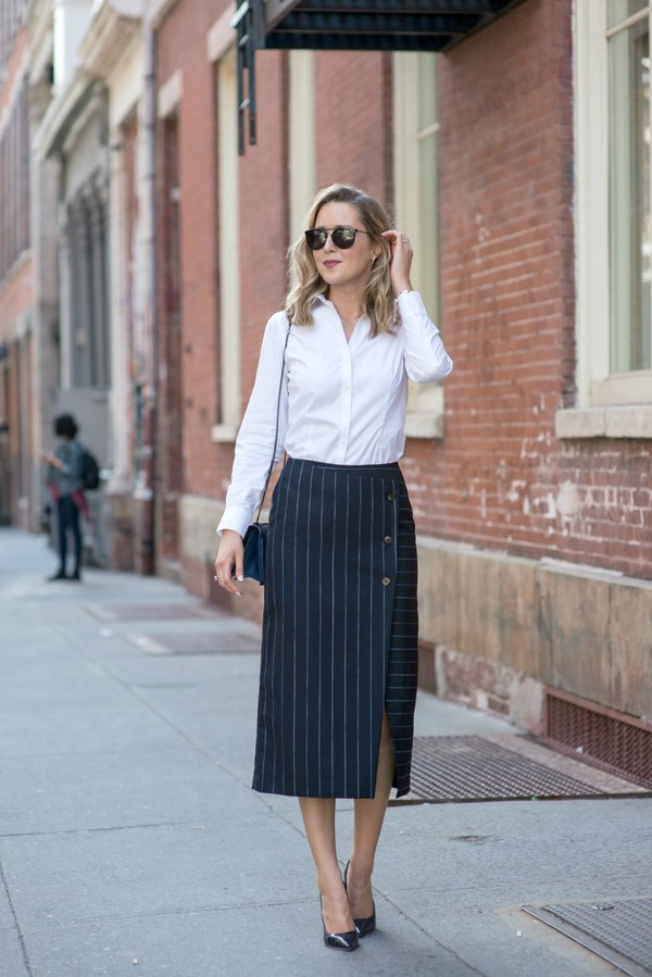 Topshop Boutique Stripe Wool Blend Wrap Midi Skirt | Nordstrom