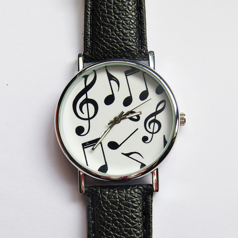 Musical Notes Watch , Vintage Style Leather Watch, Women Watches, Mens Watch , Unisex, Boyfriend Watch