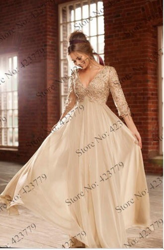 dress long prom dress 2014 2014 prom dresses deep v neck dress deep v 3/4 sleeve dress 3/4 sleeves beeded beige dress beaded a line prom gowns a line dresses a line prom gown evening dress evening gowns beautiful dress