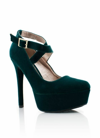 velvet strappy platform $27.80 in GREEN MUSTARD - Heels | GoJane.com