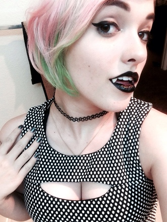 shirt polka dots black white cut-out top