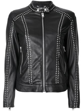 jacket leather jacket studded leather jacket studded women leather cotton black