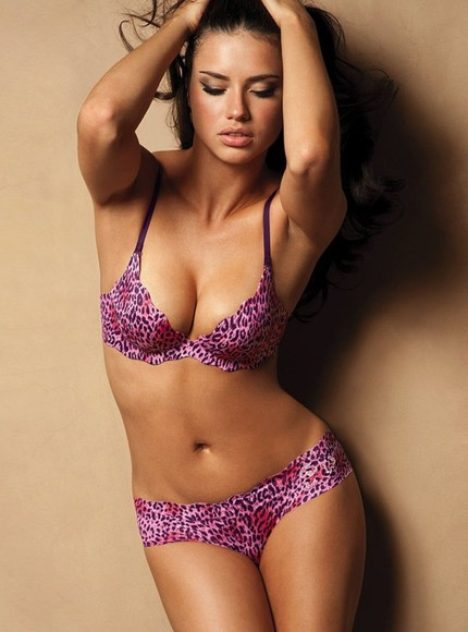 purple bra cheetah print underwear adriana lima beautiful victoria's secret model