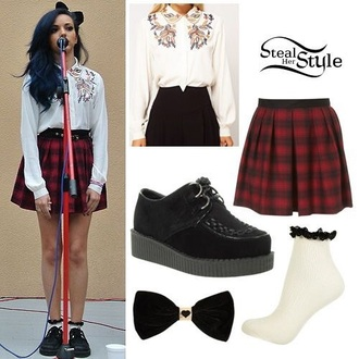 shoes little mix jade thirlwall jade thirlwall little mix socks skirt hair accessory blouse