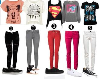 vans superman mtv lips tank top sweater mickey mouse skinny jeans sneakers crop black tank top t-shirt graphic tee black ripped jeans grey jeans pink jeans white jeans grey pants red pants pink pants white pants hipster jeans shirt clothes blouse pants shoes