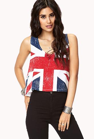 British flag crop top