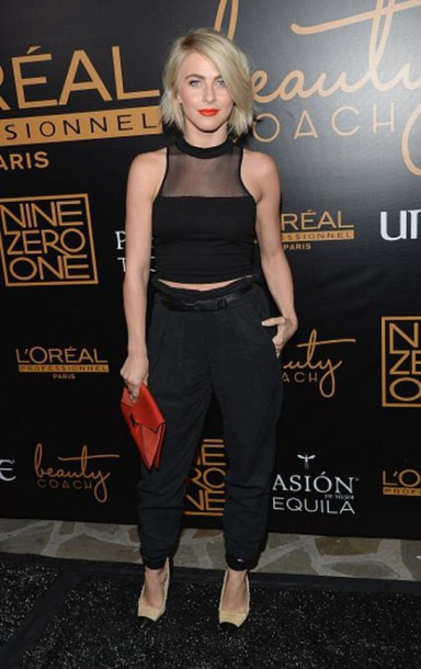 mesh julianne hough black crop top black pants top