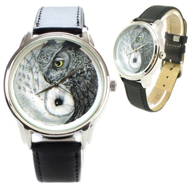 jewels owls watch watch leather watch beautiful watch designer watch unique watch unusual watch yin yang ziziztime ziz watch