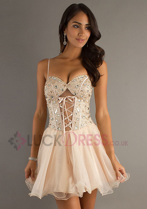 Beading Champagne Lace up Organza Short Prom Dresses - Luckdress.co.uk