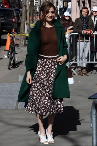 sandals midi skirt skirt emmy rossum