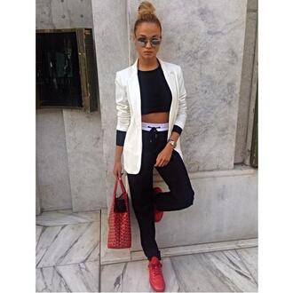 handbag red bag white jacket red shoes black pants model pants coat jacket top