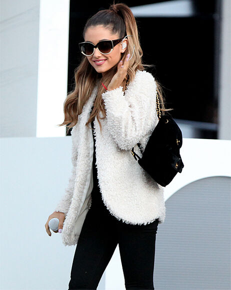 classy soft warm ariana grande white fur going out famous winter jacket