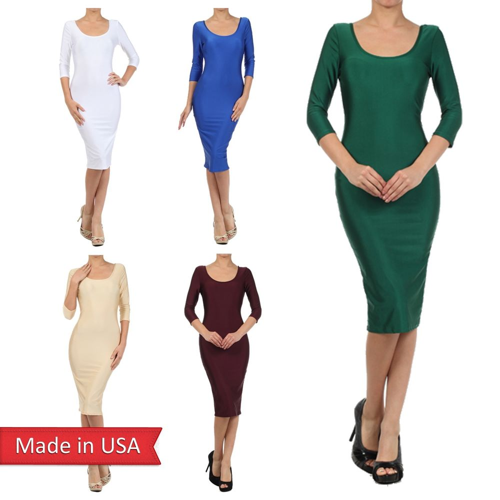 Women luxe elegant color bodycon fitted 3/4 sleeve midi length pencil dress usa