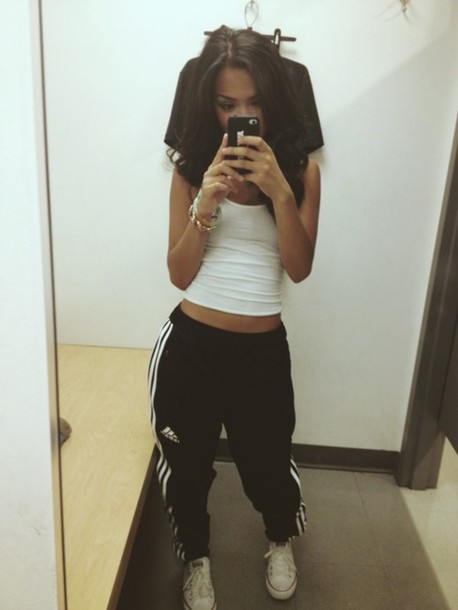 Pants baggy adidas sweatpants clothes black sweatpants adidas sweatpants sweats black ...