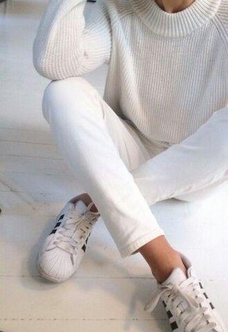 sweater jumper high neck white