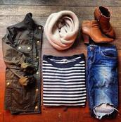 scarf,j. crew,shoes,jacket,jeans,beige,beige scarf,brown shoes,brown,denim jacket,stripes,shirt,stripped shirt