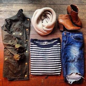 scarf j. crew jacket jeans beige beige scarf brown shoes brown denim jacket stripes shirt stripped shirt