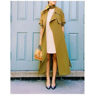 coat tumblr mustard green coat long coat scarf dress mini dress white dress bag nude bag pumps pointed toe pumps high heel pumps fall outfits classt office outfits