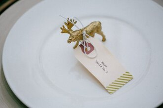 rustic wedding chic blogger holiday home decor gold deer home accessory