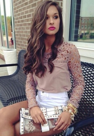 blouse top hot pink yellow dresss horts clutch bag curls hairstyles skater dress make-up handbag tote bag luxury shorts bikini hot lace dress lace sleeves dress lace top lace blouse crochet date outfit