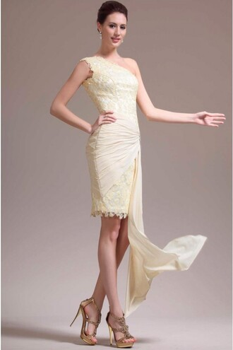 dress sparkling daffodil one shoulder ruffled tight cocktail dresses evening wear